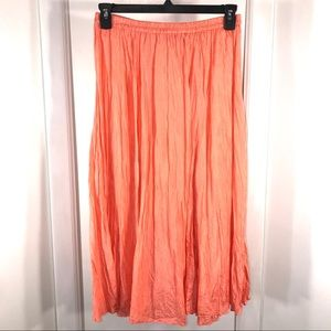 Vintage Peach Silk Broomstick Maxi Skirt, size LP
